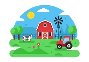 Fondo de vector de escena de granja gratis
