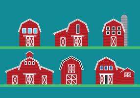 Red barn vector set