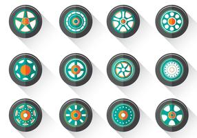 Vecteur plat de hubcaps