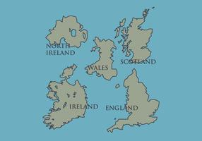 British Isles and Ireland Vector Map