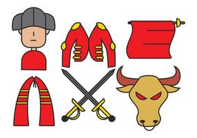 Bull fighter vector set