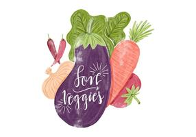 Watercolor Eggplant, Onion, Chili, Carrot, Tomato and Lettuce Healthy Food
