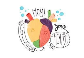 Watercolor Colorful Heart With Speech Bubble
