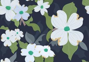 White Dogwood Floral Seamless Pattern