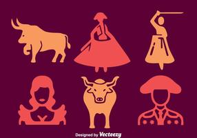 Bull Fighter Element Icons Vector