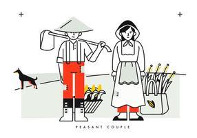 Hombre y mujer campesina fondo ilustración vectorial