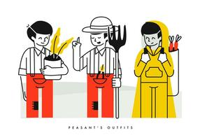 Camponês Farming Outfits Character Vector Illustration