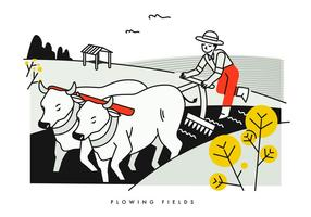 Peasant Flowing Fields With Buffalo Vector Illustration