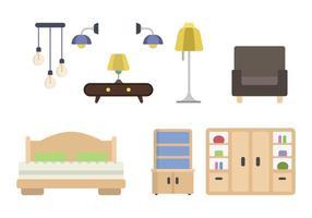 Vectores de muebles de casa plana