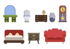 Vetores de móveis de casa plana