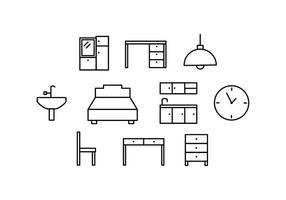 Muebles gratis Icono Línea Vector