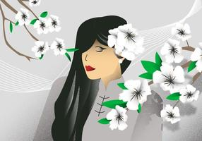 White Dogwood Flower Girl Background Vector Illustration