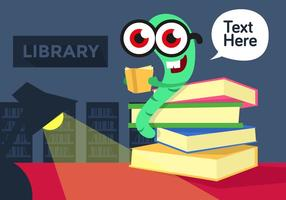 Bookworm Library Illustration Vector
