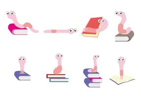 Free Pink Bookworm Character Vector