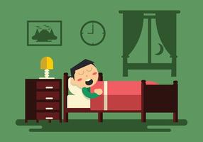 Man Sleeping In A Room Vector