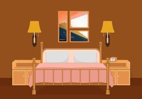 Interior De Dormitorio Vector Ilustración