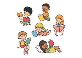 Kids Reading Vectors