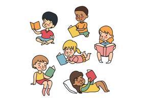 Niños leyendo vectores