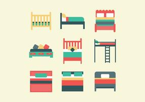 Colorful Set Of Beds vector
