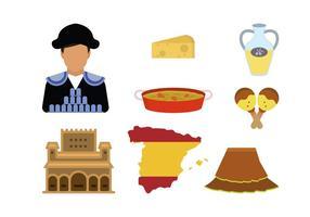 Vecteurs plats d'Espagne