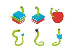 Freie herausragende Bücherwurm-Vektoren