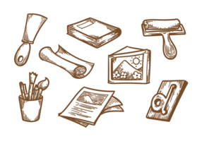 Vintage litografiska vektorer