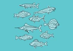 Set Of Blue Fishes