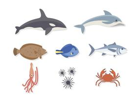 Vectores planos de animais do mar