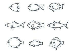 Linear Fish Icons vector