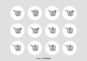 Supermarket Cart Vector Outline Icons