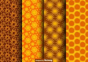 Vector Seamless Hand Drawn Sun Icon Patterns