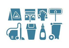 Icone vettoriali di strumento di pulizia