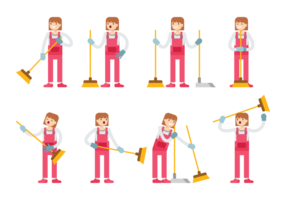 Girl Sweeps Cartoon Vector