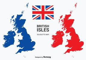 British Isles and Republic of Ireland Vector Silhouette Map