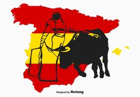 Spanish Bull Fighter Vector Illustration