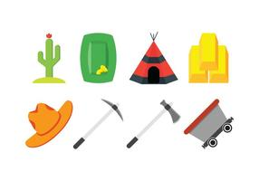 Gold rush vector icons set