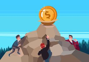 Carriere Mannen Rushing Naar De Gouden Vector Achtergrond