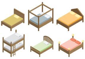 Ícones do vetor de cama