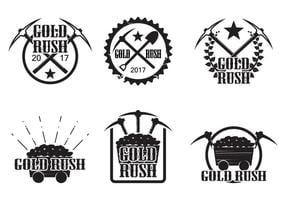 Set of vintage gold rush vectors