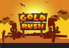 Gold Rush Sign and Scene Vector