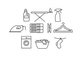 Vector de linha livre de lavanderia vetor