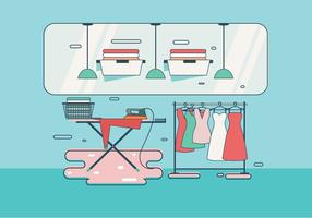 Retro Laundry Room with Ironing Board Vector