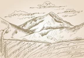 Gravure Sketch Of A Mountains