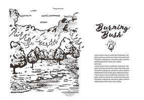 Lithographie Burning Bush Book Story Illustration Vectorisée