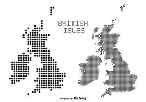 British Isles and Ireland Dotted Vector Maps