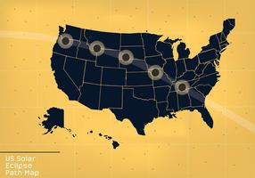 Mapa del mapa de la trayectoria del eclipse solar de los EEUU