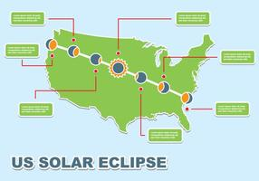 USA Total Solar Eclipse Icons