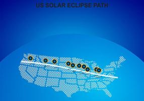 US Solar Eclipse Path Map Vector