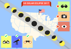 Vettore della mappa del percorso di eclissi solare degli Stati Uniti