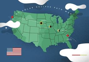 US Solar Eclipse Path Kaart Vector Platte Illustratie